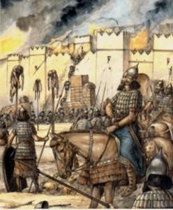 Илюстрацията показва разправата на асирийската армия с непокорните. Набиването на кол е често прилагана екзекуция към тези, които отказват доброволно да сведат глава пред мощта на Ашшур.