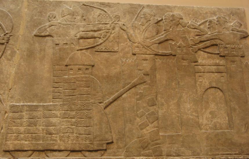 Асирийската армия щурмува крепост. Барелеф от Калху. Британски музей